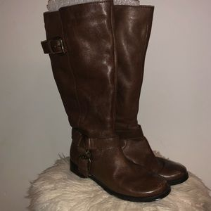 Nine West Brown Leather Riding Boots Size 8